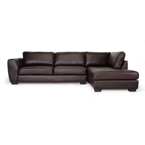 Baxton Studio Orland Brown Leather Modern Sectional Sofa Set with Right Facing Chaise - Living Room Furniture