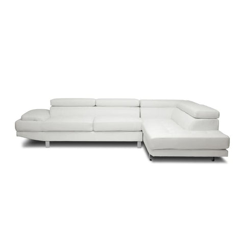 Baxton Studio Selma White Leather Modern Sectional Sofa - Living Room Furniture