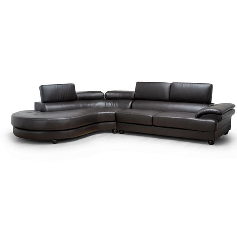 Baxton Studio Adelaide Brown Leather Modern Sectional Sofa (Left Facing Chaise) - Living Room Furniture