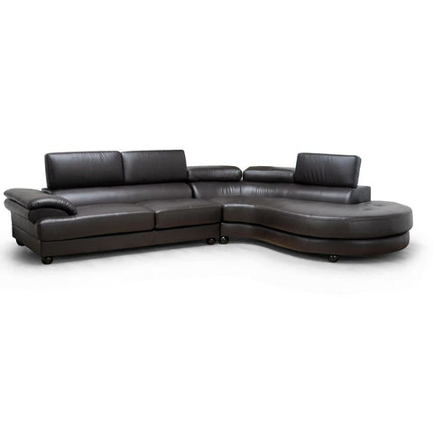 Baxton Studio Adelaide Brown Leather Modern Sectional Sofa (Right Facing Chaise) - Living Room Furniture