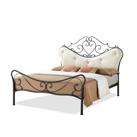 Baxton Studio Alanna Vintage Industrial Black Finished Metal Queen Size Platform Bed With Beige Tufted Headboard - Bedroom Furniture