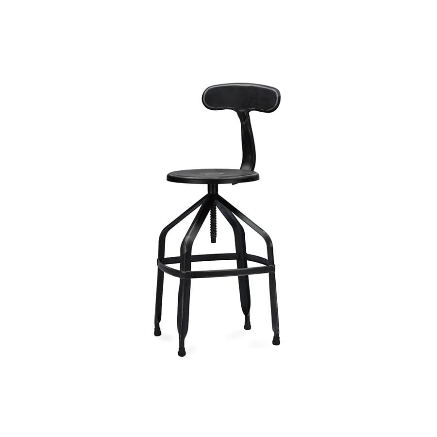 Baxton Studio Architects Industrial Bar Stool with Backrest in Antique Black - Bar Furniture