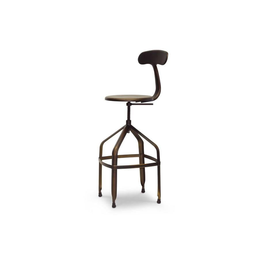 Baxton Studio Architects Industrial Bar Stool with Backrest in Antiqued Copper - Bar Furniture