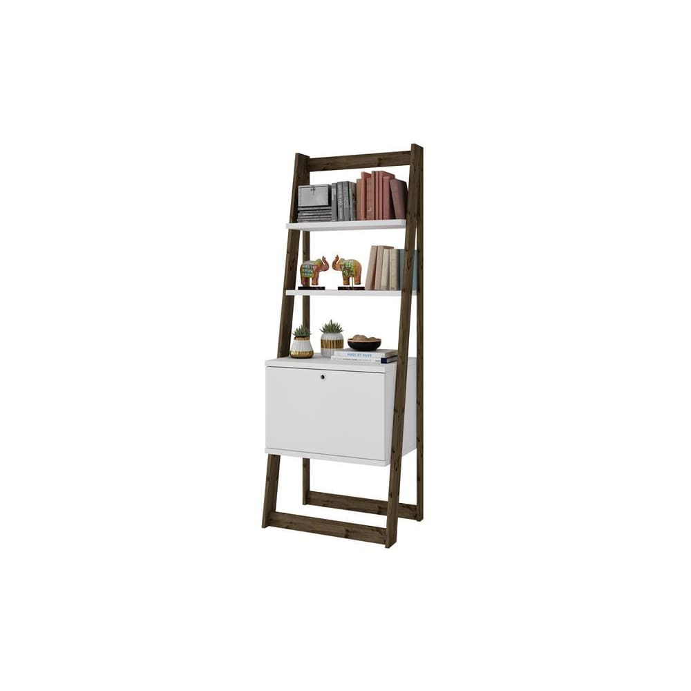 Manhattan Comfort Salvador Ladder Bookcase with 2 Display Shelves and 1 Cubby - White and Dark Oak - Shelves & Cases