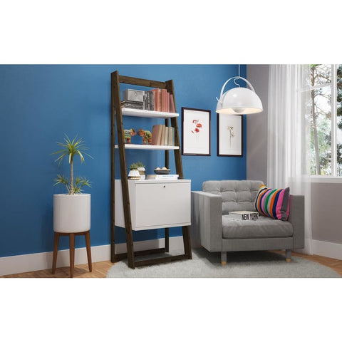 Manhattan Comfort Salvador Ladder Bookcase with 2 Display Shelves and 1 Cubby - Shelves & Cases