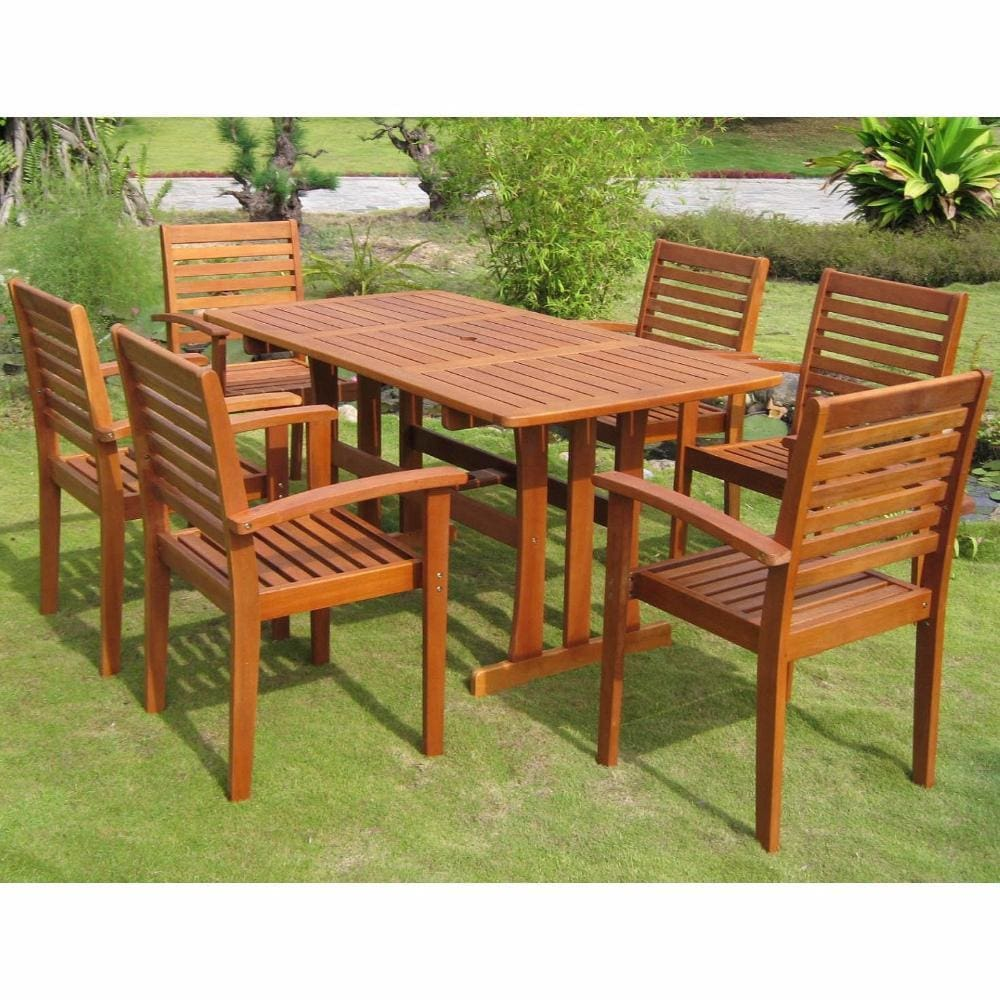 International Caravan Royal Tahiti Badalona 7-Piece Patio Group - Outdoor Furniture