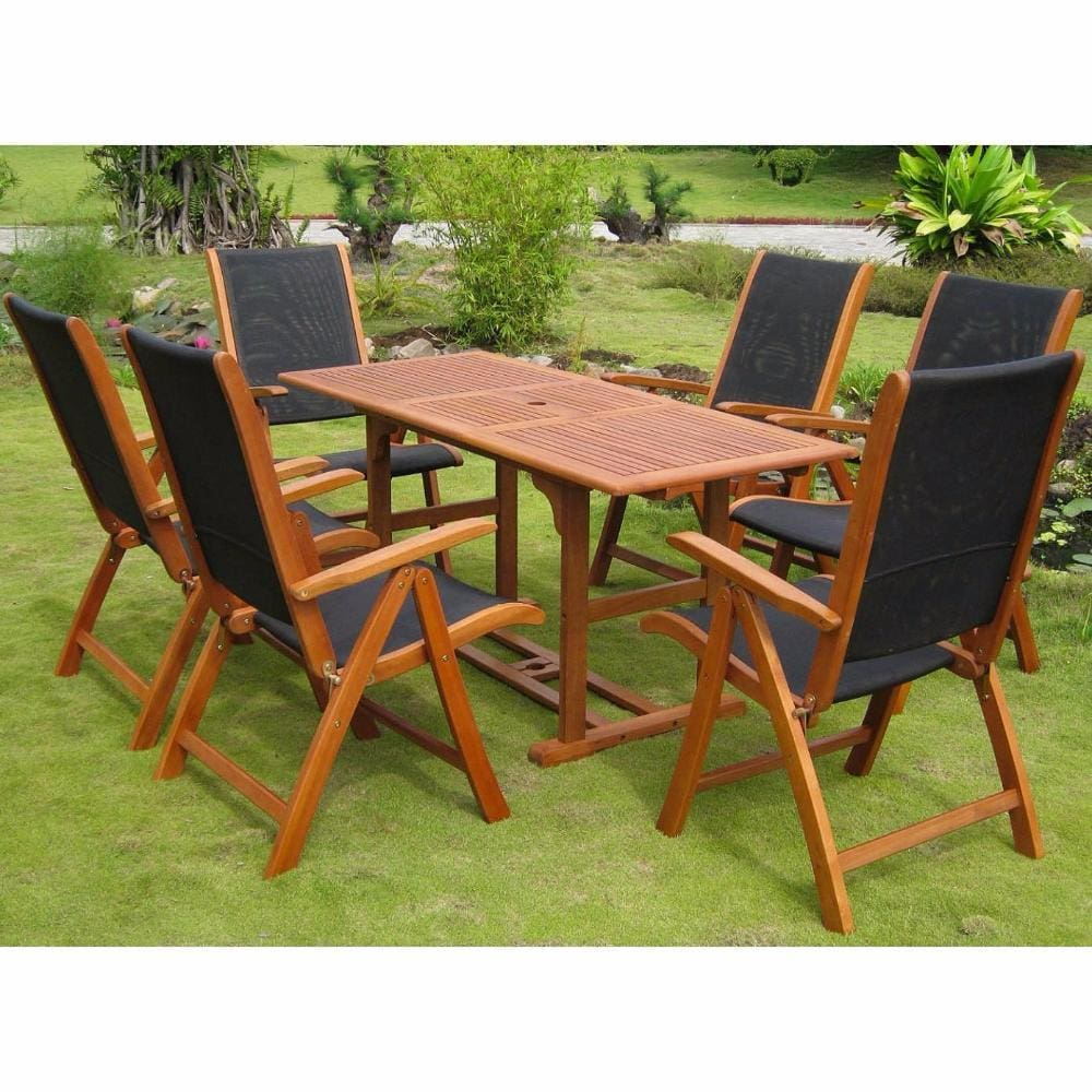 International Caravan Berga Royal Tahiti Set of Seven Dining Group - Outdoor Furniture
