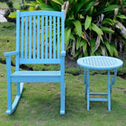 International Caravan Nicosia Acacia Wood Rocker and Side Table - Sky Blue - Outdoor Furniture