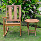 International Caravan Nicosia Acacia Wood Rocker and Side Table - Stain - Outdoor Furniture
