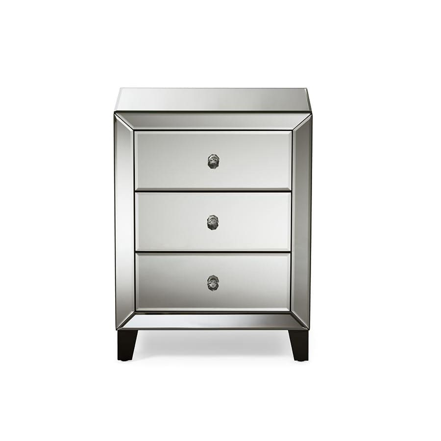 Baxton Studio Chevron Modern and Contemporary Hollywood Regency Glamour Style Mirrored 3-Drawers Nightstand Bedside Table - Bedroom