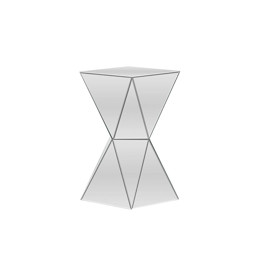 Baxton Studio Rebecca Contemporary Multi-Faceted Mirrored Side Table - Living Room Furniture