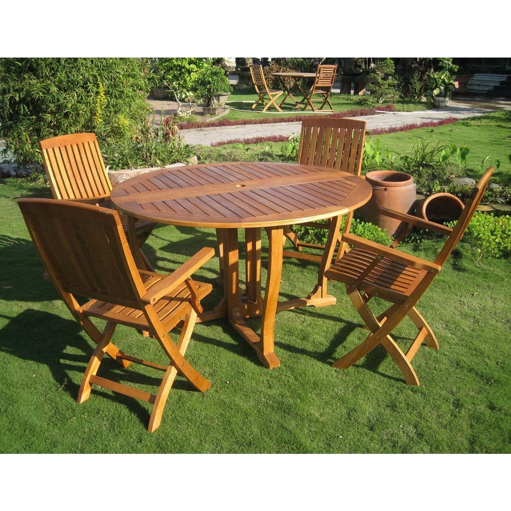 International Caravan Marbella Set of 5 Round Dining Group - Outdoor Furniture