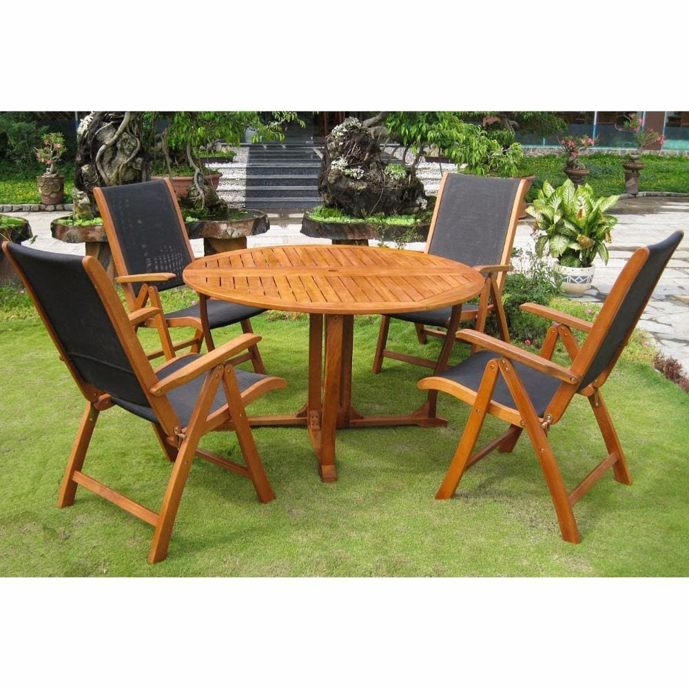 International Caravan Round Royal Tahiti Santiago Dining Group - Outdoor Furniture