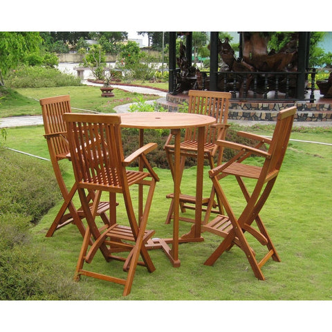International Caravan Lugo Set of 5 Bar Height Table Group - Outdoor Furniture