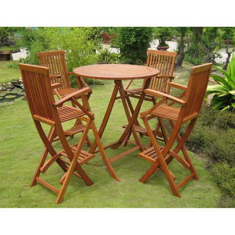 International Caravan Seville Set of 5 Bar Height Table Group - Outdoor Furniture