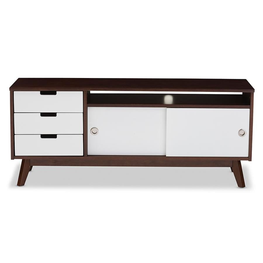 Baxton Studio Alphard Mid-century Modern Dark Walnut and White Two-tone Finish Wood TV Cabinet - Living Room Furniture