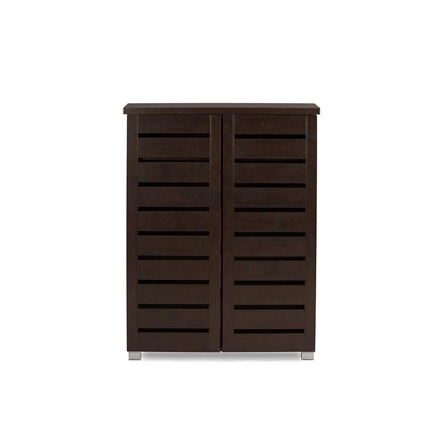 Baxton Studio Adalwin Modern and Contemporary 2-Door Dark Brown Wooden Entryway Shoes Storage Cabinet - Entryway Furniture