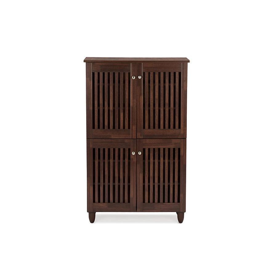 Baxton Studio Fernanda Modern and Contemporary 4-Door Oak Brown Wooden Entryway Shoes Storage Tall Cabinet - Entryway Furniture