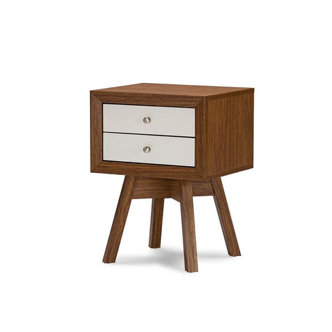 Baxton Studio Warwick Two-tone Walnut and White Modern Accent Table and Nightstand - Bedroom Furniture