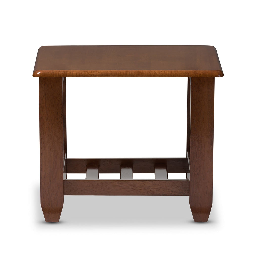 Baxton Studio Larissa Modern Classic Mission Style Cherry Finished Brown Wood Living Room Occasional End Table - Living Room Furniture
