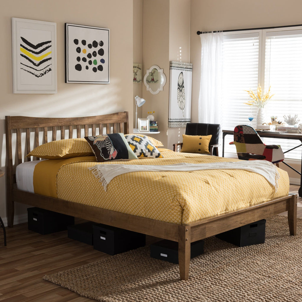 Baxton Studio Edeline Mid-Century Modern Solid Walnut Wood Curvaceous Slatted Queen Size Platform Bed - Bedroom Furniture