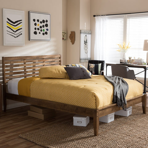 Baxton Studio Daylan Mid-Century Modern Solid Walnut Wood Slatted King Size Platform Bed - Bedroom Furniture