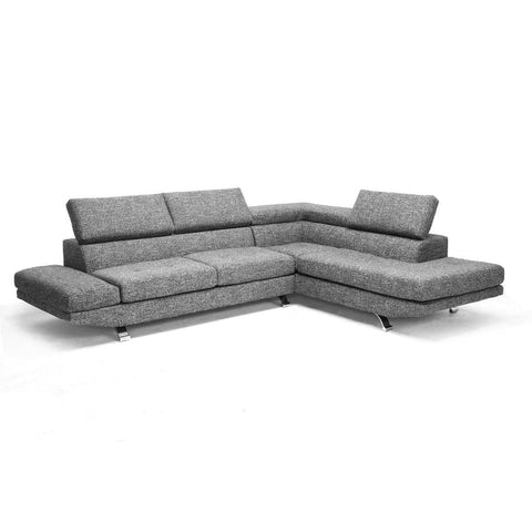 Baxton Studio Adelaide Gray Twill Fabric Modern Sectional Sofa - Living Room Furniture