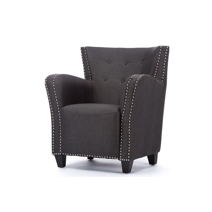 Baxton Studio Acton Dark Grey Linen Contemporary French Accent Chair - Living Room Furniture