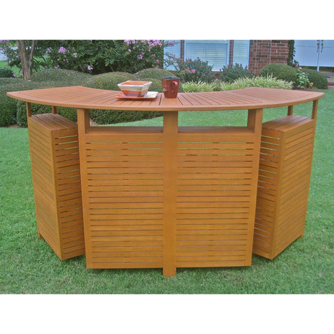International Caravan Royal Tahiti Outdoor Wood Fold Out Bar - Outdoor Furniture