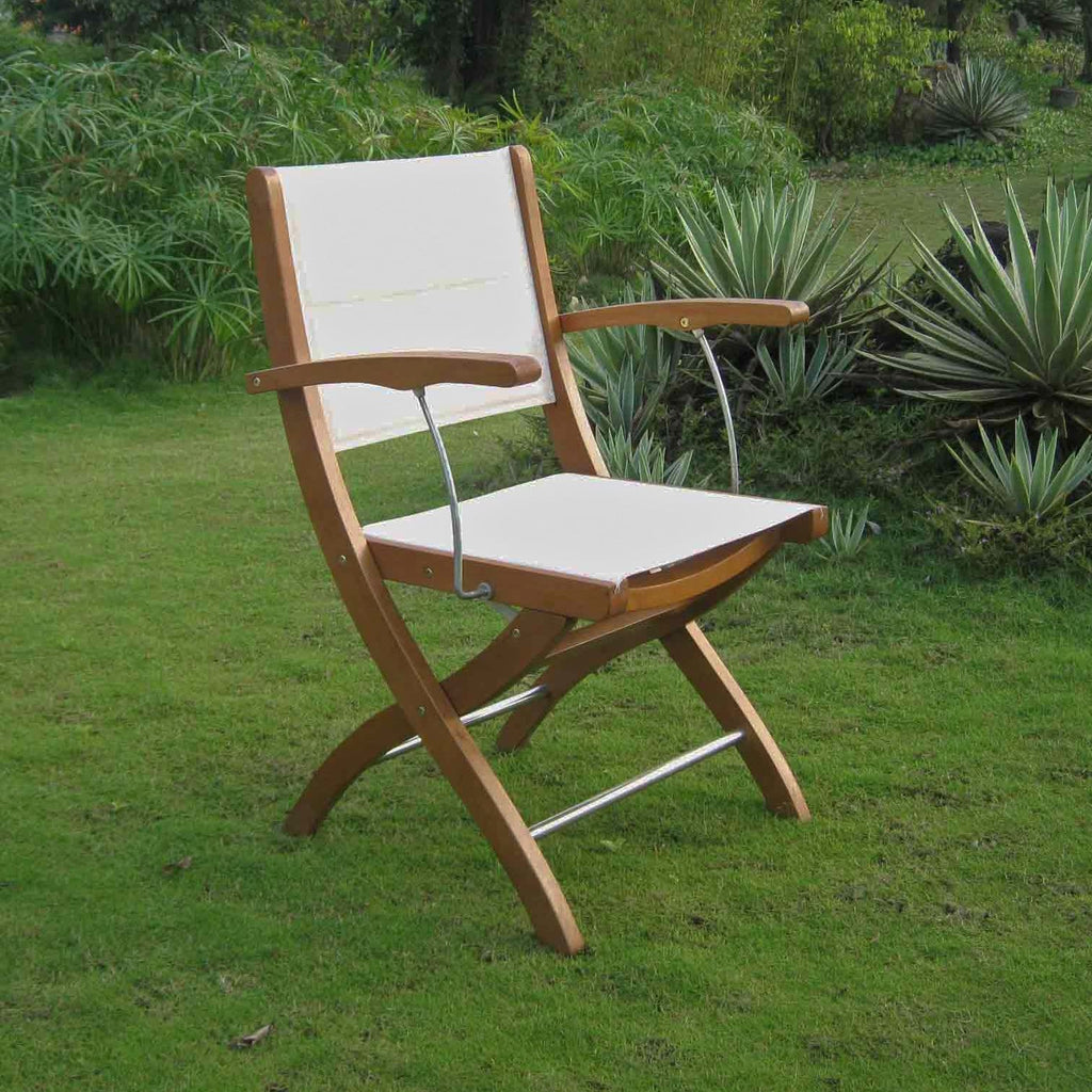International Caravan Royal Tahiti Ivory Textilene Folding Armchair - Chairs