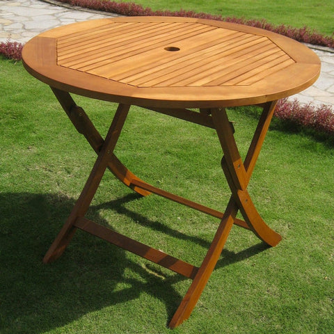 International Caravan Royal Tahiti Outdoor 36 Round Wood Folding Table - Outdoor Furniture