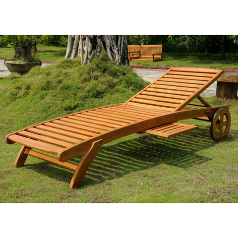 International Caravan Royal Tahiti Outdoor Wood Chaise Lounge with Wheels - Outdoor Furniture