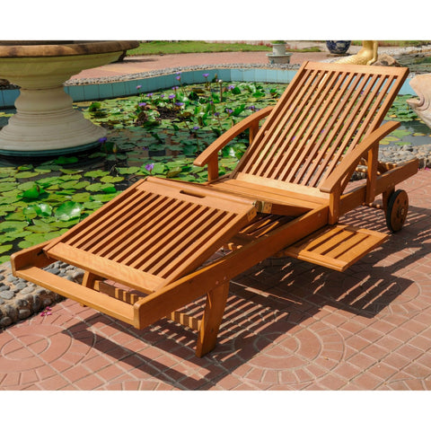 International Caravan Royal Tahiti Outdoor Chaise Lounge with Multi Sectional Deck - Outdoor Furniture