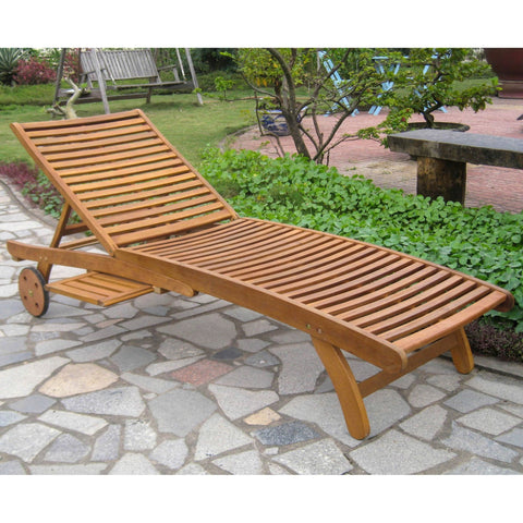 International Caravan Acacia Chaise Lounge with Pull Out Tray - Rustic Brown - Outdoor Furniture