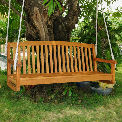 International Caravan Royal Tahiti 59 Wood Three Seated Swing - Outdoor Furniture