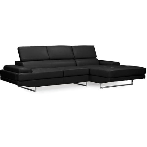 Baxton Studio Adler Contemporary Black Bonded Leather Right Facing Sectional Sofa - Living Room Furniture