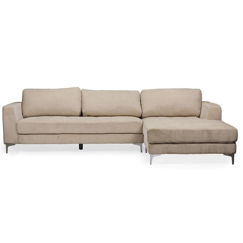 Baxton Studio Agnew Contemporary Light Beige Microfiber Right Facing Sectional Sofa - Living Room Furniture