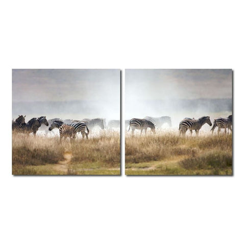 Baxton Studio A Zeal of Zebras Mounted Photography Print Diptych - Art Gallery