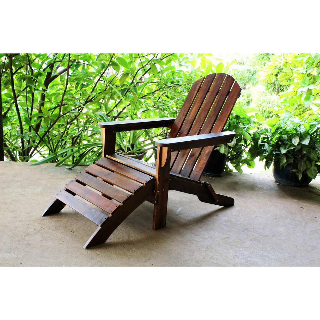 International Caravan Outdoor Adirondack Chair with Footrest - Outdoor Furniture