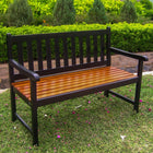 International Caravan Outdoor 4 Foot Wood Bench - Black/Oak - Benches