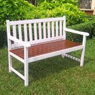 International Caravan Outdoor 4 Foot Wood Bench - White/Oak - Benches