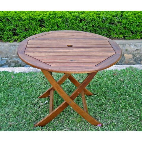 International Caravan 38 Round Folding Table with Curved Legs - Outdoor Furniture