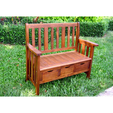 International Caravan 3-Drawer Acacia Bench w/Arms - Benches
