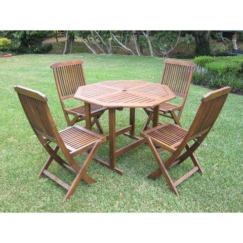 International Caravan Acacia Stow Away Dining Set - Outdoor Furniture