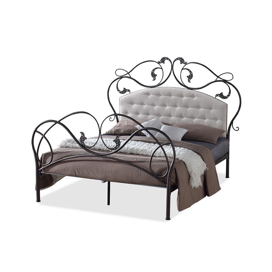 Baxton Studio Ariana Retro Modern Antique Bronze Finish Queen Iron Metal Platform Base Bed Frame with Tufted Headboard - Bedroom Furniture