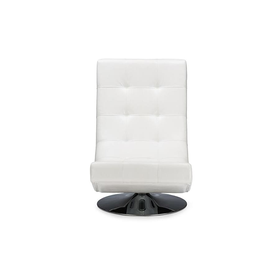 Baxton Studio Baxton Studio Elsa Modern and Contemporary White Faux Leather Upholstered Swivel Chair with Metal Base - Living Room Furniture