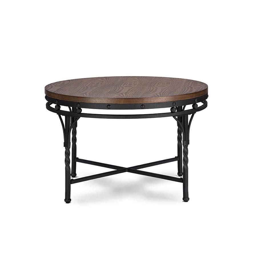Baxton Studio Austin Vintage Industrial Antique Bronze Round Coffee Cocktail Table and End Tables 3-Piece Occasional Table Set - Living Room