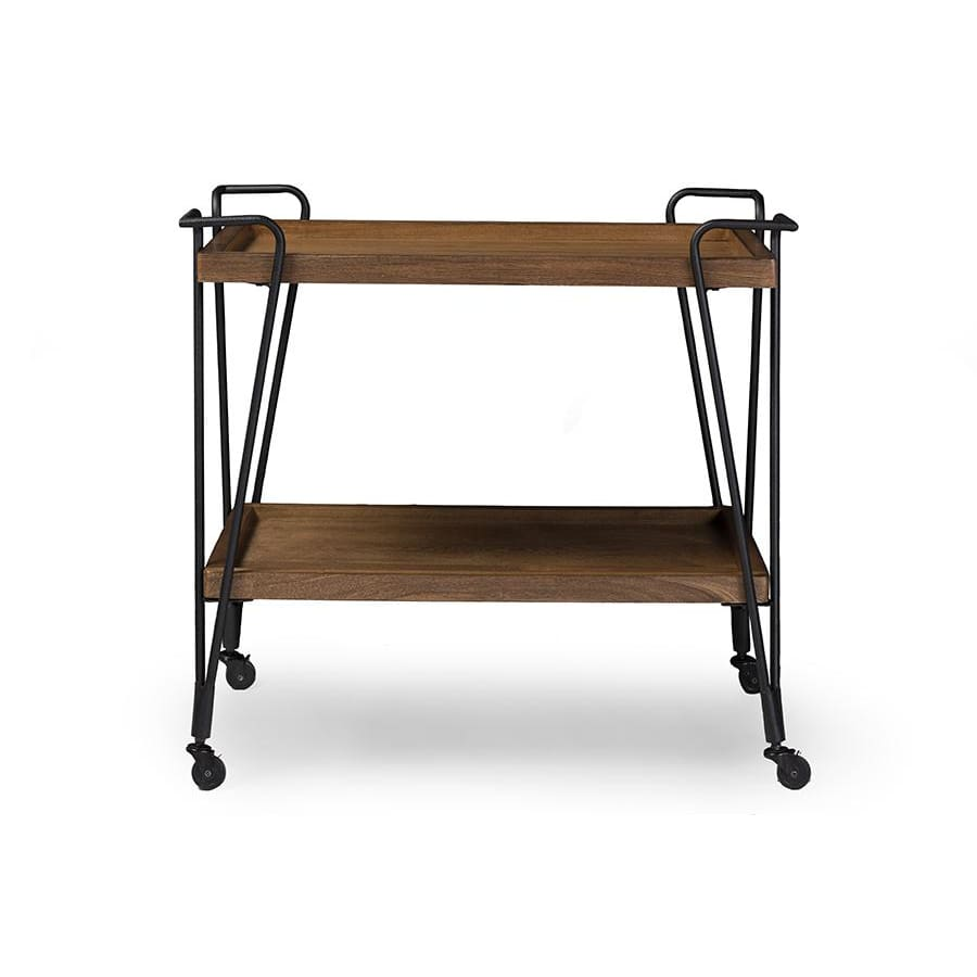 Baxton Studio Alera Rustic Industrial Style Antique Black Textured Finish Metal Distressed Ash Wood Mobile Serving Bar Cart - Kitchen