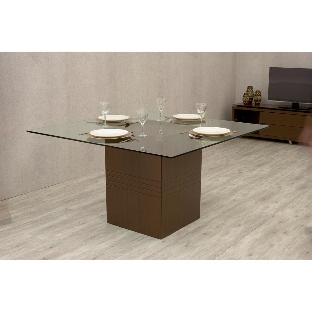 Manhattan Comfort Perry 1.8 - 55.12 in Sleek Tempered Glass Table Top - Nut Brown - Dining Tables