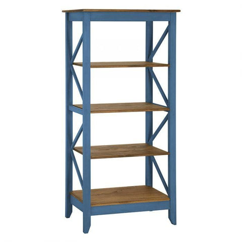 Manhattan Comfort Jay 31.5 Solid Wood Bookcase with 4 Shelves - Blue Wash - Shelves & Cases